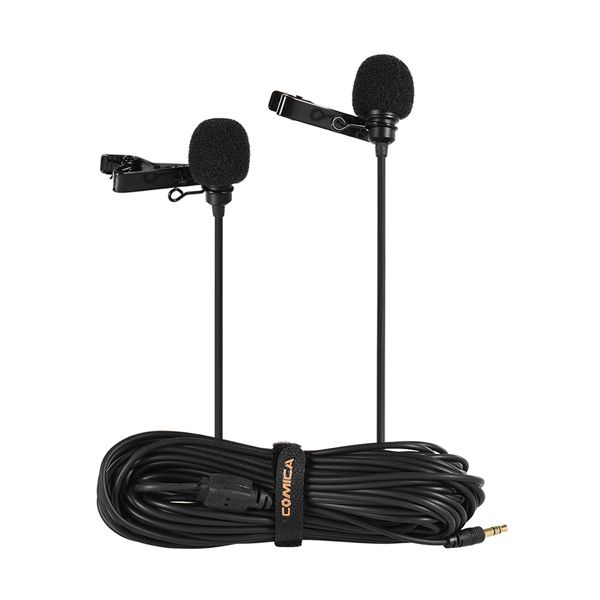 Двойная петличка Comica CVM-D02 (петличный микрофон с двумя головками)