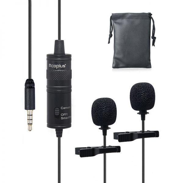 Двойная активная петличка Mcoplus LVD2M (петличный микрофон с двумя головками)